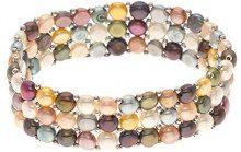 Pearls & Colors PC-BRN22 - Bracciale multi-filo, in acciaio Inox, con perle d'acqua dolce, 14 cm
