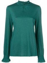 - Closed - Blusa con collo arricciato - women - cotone/fibra sintetica - L - di colore verde