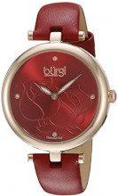 Burgi'-Orologio da donna al quarzo con Display analogico e cinturino in pelle, BUR151RD, colore: rosso