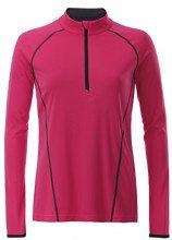 James & Nicholson Ladies' Sportsshirt Longsleeve, T-Shirt Donna, Rosa (Bright-Pink/Titan), L