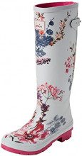 Joules WELLY PRINT Stivali di gomma donna, Argento (Silver Harvest Floral SLVHVFL), 36 EU