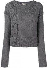 - Semicouture - braid knit jumper - women - alpaca/lana - XS , M, S, L - di colore grigio