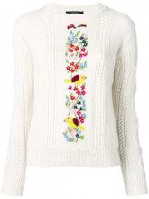 - Max Mara - floral embroidered sweater - women - lana vergine - S - color carne