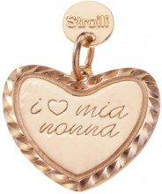 La nonna perfetta. Charm in argento 925 rosato diamantato con incisione per Donna
