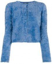 - Twin - Set - Cardigan crop 'Teddy' - women - fibra sintetica - L, XL - di colore blu