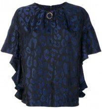 - Cavalli Class - Blusa con motivo leopardo - women - fibra sintetica/acetato - 42 - di colore blu