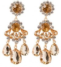 sweet deluxe BURGAS Orecchini goldcoloured/crystal/topaz