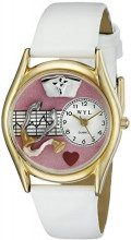 Whimsical Watches Nurse Pink Watch Classic in Gold C-0620047 - Orologio da polso, donna, pelle, colore: bianco