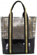 Borsa shopper beige London style con manici nero e oro 9667TWEED