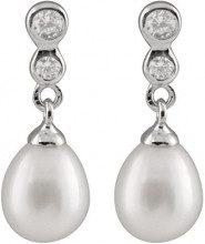Bella Pearls Donna 925 argento Rotonda Goccia perla cinesa da coltivazione bianco Perla Zirconia cubica FINEEARRING
