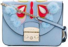 - Furla - mini Metropolis shoulder bag - women - pelle/fibra sintetica/pelliccia di visone - Taglia Unica - di colore blu