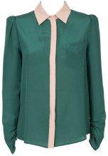 Camicia in crpe di Chine di seta verde SN3VERDE/NUD