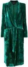 - Erika Cavallini - belted velvet coat - women - fibra sintetica - 42 - di colore verde