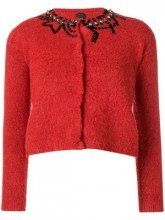 - Pinko - Top in maglia con paillettes - women - lana/fibra sintetica/fibra sinteticaottoneacrilicoglass - M, L, XS, S - di colore rosso