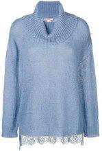 - Twin - Set - lace panel jumper - women - fibra sintetica - L - di colore blu