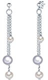 Valero Pearls Orechinni pendenti da Donna in Argento Sterling 925 con rodio con Perle coltivate d'acqua dolce bianco grigiore 60201341