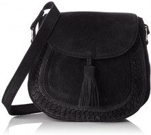 PIECES Pcfedori Suede Cross Body - Borse a tracolla Donna, Nero (Black), 10x20x23 cm (B x H x T)