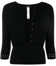 - Twin - Set - cropped studded cardigan - women - fibra sintetica - M, L, XL, XS - di colore nero