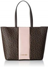 Calvin Klein Jeans Mono Block Shopper - Borse a spalla Donna, Marrone (Brown Mono/Petal), 15x30x47 cm (B x H T)
