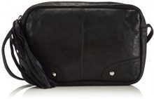 PIECES - PCMORE LEATHER CROSS OVER BAG, Borsa da donna, nero (schwarz (black)), 20x13x4 cm (B x H x T)