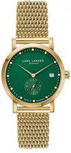 Lars Larsen LW37-Orologio da donna al quarzo con Display analogico, colore: verde e bracciale in acciaio inossidabile oro e 137GEGM