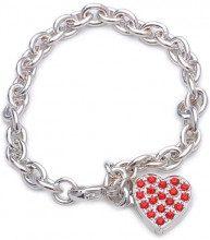 Adara-Bracciale a catena rolò in argento, lunghezza 19,5 cm, con cristalli, a forma di cuore, colore: rosso
