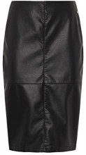 Tom Tailor Denim Leather Look Pencil Skirt, Deep Black, S, Gonna Donna, Nero 14482, Small