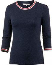 Tom Tailor Denim Langarm Shirt mit Contrast Streifen Am Ärmel und Ausschnitt, Maglia a Maniche Lunghe Donna, Blu (Real Navy Blue 10360), XX-Large