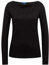 Tom Tailor Casual Langarm Shirt mit Wasserfall-Ausschnitt, Maglia a Maniche Lunghe Donna, Nero (Black 29999), X-Large