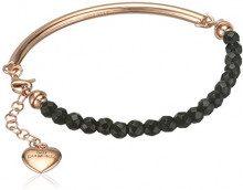 Hot Diamonds-Bracciale in onice, colore: nero Festival placcato in oro rosa, lunghezza 19 cm
