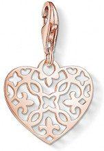Thomas Sabo Charm Club Ciondolo da Donna, Argento 925 e Placcatura d'Oro Rosa, Cuore Arabesco