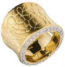 Orphelia - Anello da donna in argento placcato oro, opacizzato, con zirconi bianchi, taglio brillante, Placcato oro, 50 (15.9), colore: gold, cod. R-3958-GOLD/50
