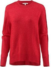 Tom Tailor Denim Weicher Pullover Tolle Dekorative Knopfleiste Am Ärmel, Felpa Donna, Rosso (Scarlet Red 13745), Large