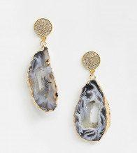 Orecchini placcati oro con cristalli Swarovski e agata semipreziosa
