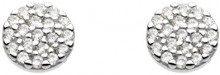 Dew disco in argento Sterling e zirconia cubica, orecchini a perno 3875CZ