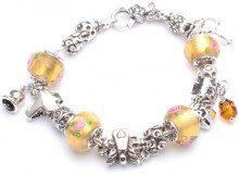 Adara, colore: giallo/rosa in argento stile girano con perline, lunghezza 19 cm