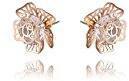 Fajewellery oro rosa placcato Hollow fiore della Rosa di cristallo austriaco Orecchini per le donne