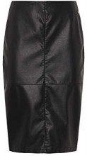 Tom Tailor Denim Leather Look Pencil Skirt, Deep Black, M, Gonna Donna, Nero 14482, Medium