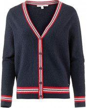 Tom Tailor Denim Strickjacke mit Streifendetails und Rüschen An den Schultern, Cardigan Donna, Blu (Real Navy Blue 10360), X-Large