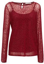 edc by Esprit 118cc1k028, Maglia a Maniche Lunghe Donna, Rosso (Bordeaux Red 600), X-Large