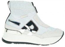 Sneakers - bianco e argento - zeppa: 4.5 cm - plateau: 3 cm