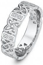 Theia Uomo Unisex Donna 9 carati oro bianco Rotonda trasparente Diamante FINERING