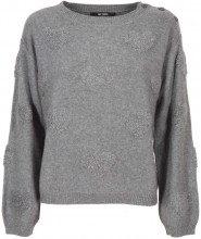 Pullover in misto lana con cuori 00082GRIGIOM
