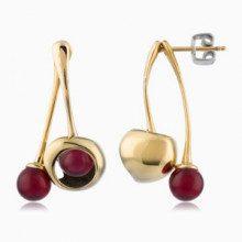 Orecchini pendenti RED - acciaio - cristalli - color oro - Lunghezza: 4 cm