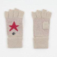 Mezzi guanti - bianco mélange e fucsia