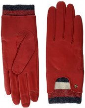 Tommy Hilfiger Corp Rib Leather Gloves, Guanti Donna, Rosso (Tommy Red 614), Small (Taglia Produttore: S-M)