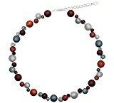 Collana con perline 6 originali Polaris, 8, 10 + 12 mm, PK1211, circa 45 + 4,5 cm, colore marrone scuro, marrone, grigio scuro, grigio chiaro