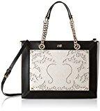 Cavalli Small handbag Icon LoveLace 004, Borsa a mano donna Multicolore Mehrfarbig (Offwhite/Black F03) 30x22x13 cm (B x H x T)
