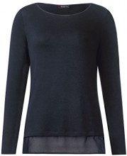 Street One u-Boat Shirt with Layer, Maglietta a Maniche Lunghe Donna, Grau (Neo Grey 11017), 46
