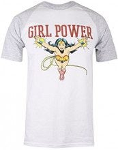 DC Comics Wonderwoman Girl Power, T-Shirt Donna, Weiß (White/Grey Heather), 44